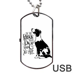 Dog Person Dog Tag Usb Flash (two Sides) by Valentinaart