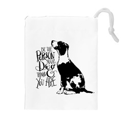 Dog Person Drawstring Pouches (extra Large) by Valentinaart