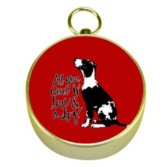 Dog Person Gold Compasses by Valentinaart