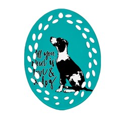 Dog Person Oval Filigree Ornament (two Sides) by Valentinaart