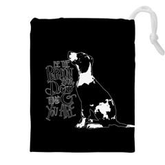 Dog Person Drawstring Pouches (xxl) by Valentinaart