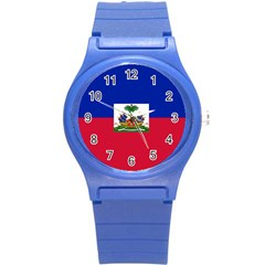 Flag Of Haiti  Round Plastic Sport Watch (s) by abbeyz71