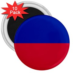 Civil Flag Of Haiti (without Coat Of Arms) 3  Magnets (10 Pack)  by abbeyz71