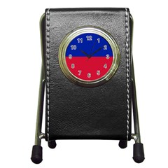 Civil Flag Of Haiti (without Coat Of Arms) Pen Holder Desk Clocks by abbeyz71