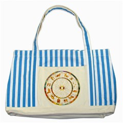 Zodiac Institute Of Vedic Astrology Striped Blue Tote Bag by Onesevenart