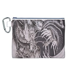 Chinese Dragon Tattoo Canvas Cosmetic Bag (l) by Onesevenart