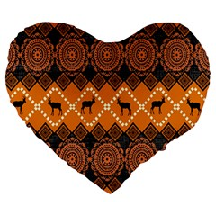 Traditiona  Patterns And African Patterns Large 19  Premium Heart Shape Cushions by Onesevenart