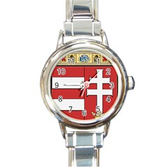 Medieval Coat Of Arms Of Hungary  Round Italian Charm Watch by abbeyz71