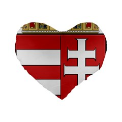 Medieval Coat of Arms of Hungary  Standard 16  Premium Heart Shape Cushions