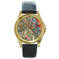 Traditional Korean Painted Paterns Round Gold Metal Watch by Onesevenart
