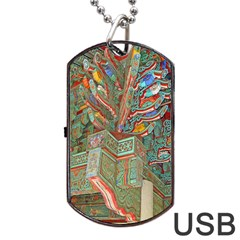Traditional Korean Painted Paterns Dog Tag Usb Flash (two Sides) by Onesevenart