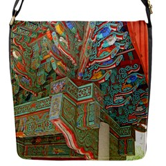 Traditional Korean Painted Paterns Flap Messenger Bag (s) by Onesevenart