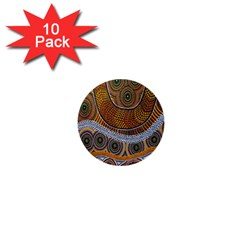 Aboriginal Traditional Pattern 1  Mini Buttons (10 Pack)  by Onesevenart
