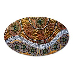 Aboriginal Traditional Pattern Oval Magnet by Onesevenart