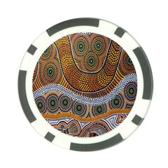 Aboriginal Traditional Pattern Poker Chip Card Guard by Onesevenart