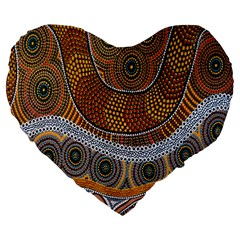 Aboriginal Traditional Pattern Large 19  Premium Heart Shape Cushions by Onesevenart