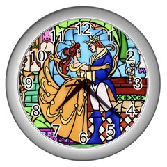 Happily Ever After 1   Beauty And The Beast  Wall Clock (silver) by storybeth