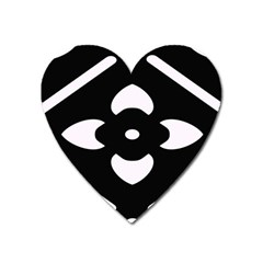 Black And White Pattern Background Heart Magnet by Nexatart