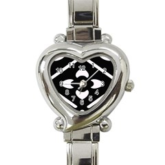 Black And White Pattern Background Heart Italian Charm Watch by Nexatart