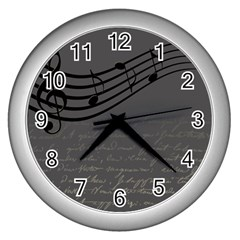 Music Clef Background Texture Wall Clocks (silver)  by Nexatart
