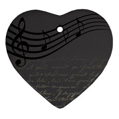 Music Clef Background Texture Heart Ornament (two Sides) by Nexatart