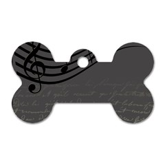 Music Clef Background Texture Dog Tag Bone (two Sides) by Nexatart