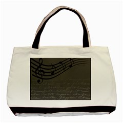 Music Clef Background Texture Basic Tote Bag (two Sides) by Nexatart