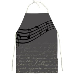 Music Clef Background Texture Full Print Aprons by Nexatart