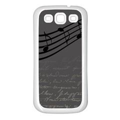 Music Clef Background Texture Samsung Galaxy S3 Back Case (white) by Nexatart