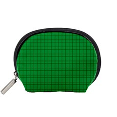 Pattern Green Background Lines Accessory Pouches (small)  by Nexatart