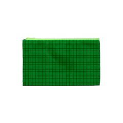 Pattern Green Background Lines Cosmetic Bag (xs) by Nexatart