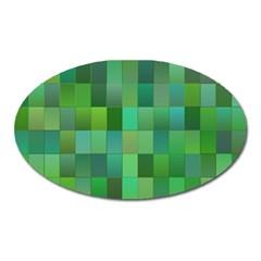 Green Blocks Pattern Backdrop Oval Magnet by Nexatart