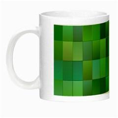 Green Blocks Pattern Backdrop Night Luminous Mugs by Nexatart