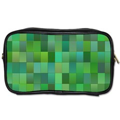 Green Blocks Pattern Backdrop Toiletries Bags by Nexatart