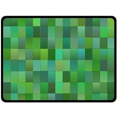 Green Blocks Pattern Backdrop Fleece Blanket (large)  by Nexatart
