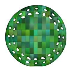 Green Blocks Pattern Backdrop Round Filigree Ornament (two Sides) by Nexatart