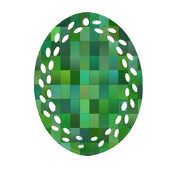 Green Blocks Pattern Backdrop Oval Filigree Ornament (two Sides) by Nexatart