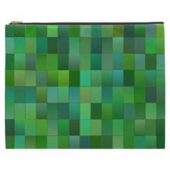 Green Blocks Pattern Backdrop Cosmetic Bag (xxxl)  by Nexatart