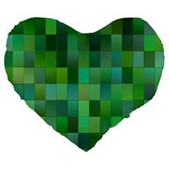 Green Blocks Pattern Backdrop Large 19  Premium Heart Shape Cushions by Nexatart