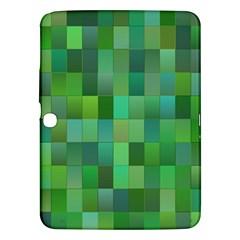 Green Blocks Pattern Backdrop Samsung Galaxy Tab 3 (10 1 ) P5200 Hardshell Case  by Nexatart