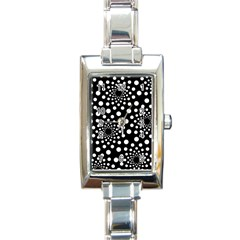 Dot Dots Round Black And White Rectangle Italian Charm Watch by Nexatart