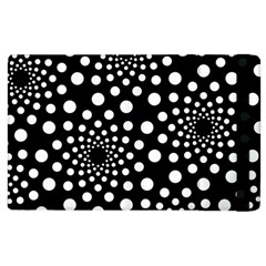 Dot Dots Round Black And White Apple Ipad 3/4 Flip Case by Nexatart