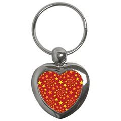 Star Stars Pattern Design Key Chains (heart)  by Nexatart