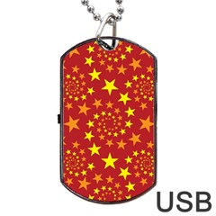 Star Stars Pattern Design Dog Tag Usb Flash (one Side) by Nexatart
