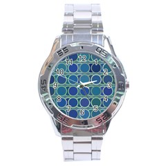 Circles Abstract Blue Pattern Stainless Steel Analogue Watch by Nexatart