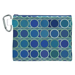 Circles Abstract Blue Pattern Canvas Cosmetic Bag (xxl) by Nexatart