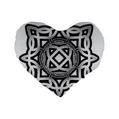 Celtic Draw Drawing Hand Draw Standard 16  Premium Flano Heart Shape Cushions by Nexatart
