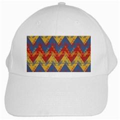 Aztec Traditional Ethnic Pattern White Cap by Nexatart