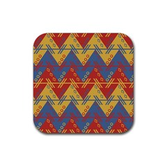 Aztec Traditional Ethnic Pattern Rubber Square Coaster (4 Pack)  by Nexatart