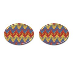 Aztec Traditional Ethnic Pattern Cufflinks (oval) by Nexatart